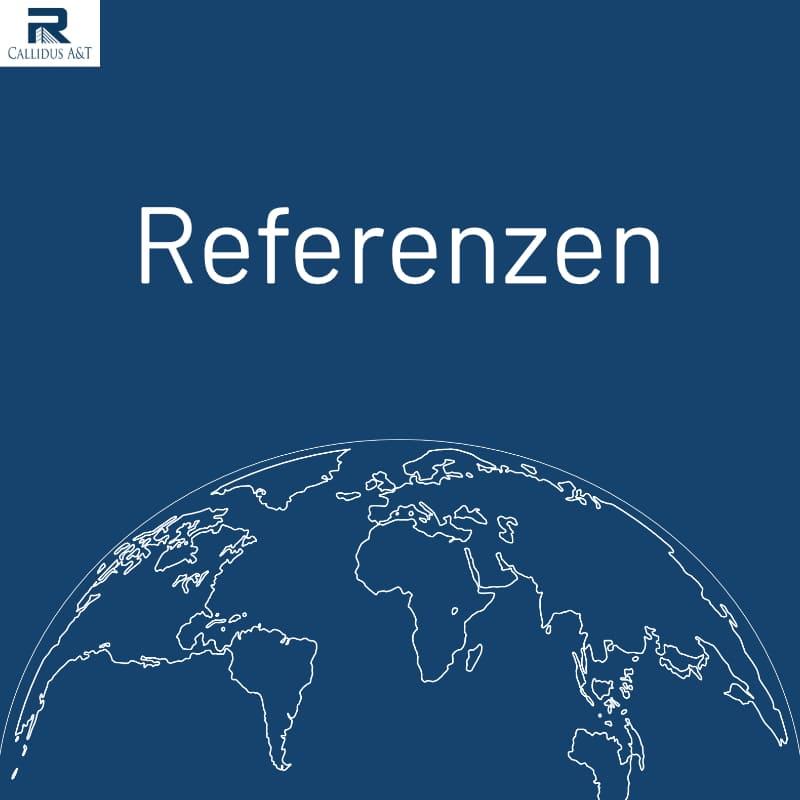 Referenzen vor blauen Hintergrund mit weißer Weltkugel